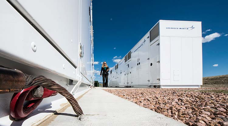 Fourteen energy storage units at Fort Carson.