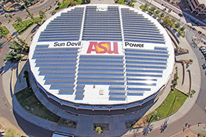 ASU sports arena with a solar array on the roof.
