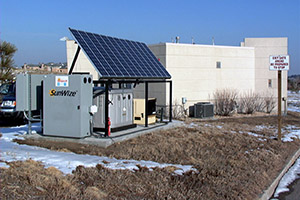 Solar energy, battery storage, and backup generator system.